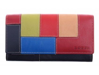 Červená kožená peněženka Lagen MC 614866 Multicolor