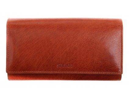 Dámská kožená peněženka Segali SG - 28 koňakově hnědá