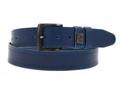 Pánský kožený opasek Black Hand 003-76 modrý