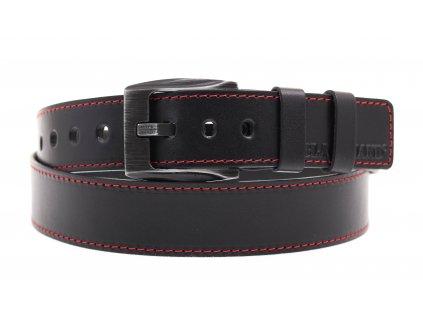Pánský kožený opasek Black Hand 091-98 černý + červené štepování