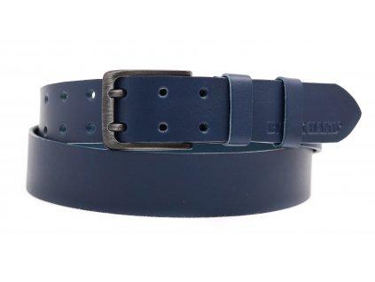 Pánský kožený opasek Black Hand 005-40 tmavě modrý dvoják