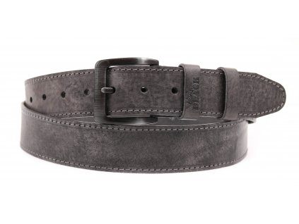 Pánský kožený opasek Black Hand 006-90 šedá patina