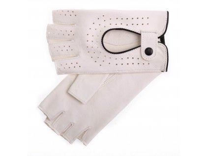 Dámské kožené řidičské rukavice 3000BP bezprstové bílé s černými detaily
