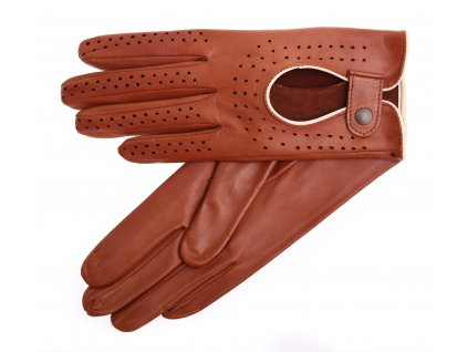 Dámské kožené řidičské rukavice 3000P bezprstové koňakově hnědé s břízově hnědými detaily