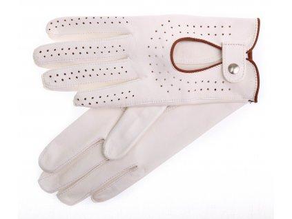 Dámské kožené řidičské rukavice 3000P bezprstové bílé s koňakově hnědými hnědými detaily