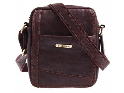 Pánská kožená taška přes rameno Sendi Design CT 740 hnědá