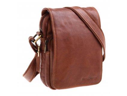 Pánská kožená taška přes rameno Sendi Design M 708 koňakově hnědá