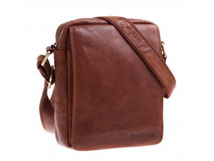 Pánská kožená taška přes rameno Sendi Design M52005 koňakově hnědá