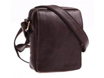 Pánská kožená crossbody taška Sendi Design M 52006 hnědá