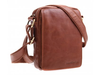 Pánská kožená crossbody taška Sendi Design M 52006 koňakově hnědá