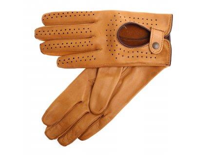 Dámské kožené řidičské rukavice 3034 prstové camel