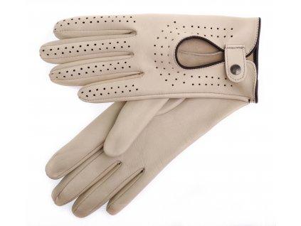 Dámské kožené řidičské rukavice 3034 prstové břízově hnědé s hnědými detaily