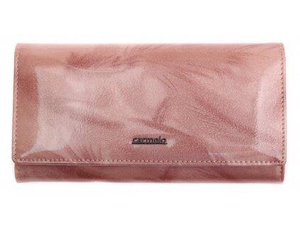 Velká dámská kožená peněženka Carmelo 2116P rámková - růžová