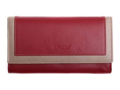Dámská kožená peněženka Lagen 1841 vínová s béžovým lemováním