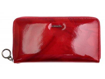 Velká dámská kožená peněženka Carmelo 2102 červená - peříčka