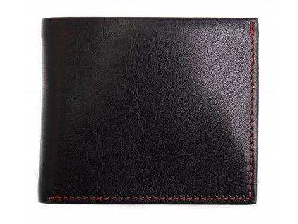 Pánská kožená peněženka Hajn 152701.5 černá + červené štepování