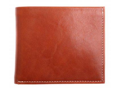 Pánská kožená peněženka Hajn 152701.5 koňakově hnědá + bílé štepování a tmavě hnědý vnitřek
