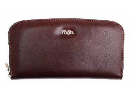 Dámská kožená peněženka Hajn 159301.4 penálová tmavě hnědá