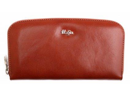 Dámská kožená peněženka Hajn 159301.5 penálová koňakově hnědá