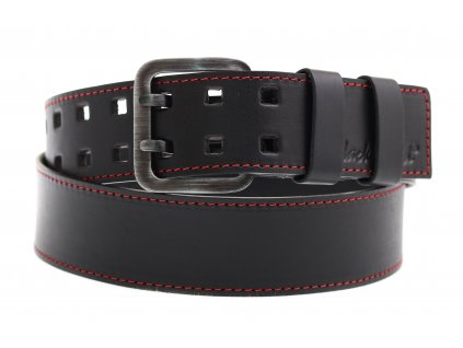 Široký pánský kožený opasek se dvěma trny Black Hand 011-98 černý + červené štepování