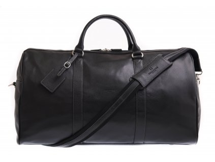 Velká cestovní kožená taška Hexagona 462966 černá hovězina