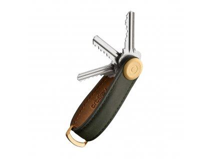 Luxusní a stylová kožená klíčenka Orbitkey - full grain hovězí kůže a zlatý kov