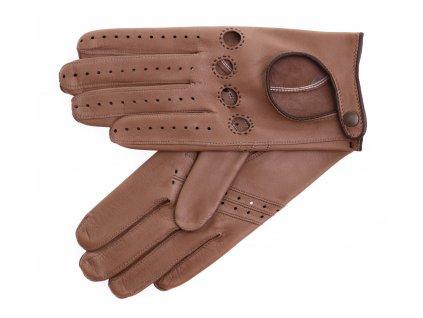 Dámské kožené řidičské rukavice 3428 kapučíno