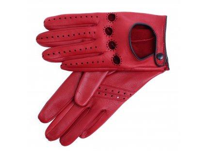 Dámské kožené řidičské rukavice 3428 tmavě červené/černé