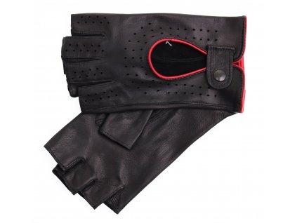 Dámské kožené řidičské rukavice 3034BP bezprstové černé s červenými detaily