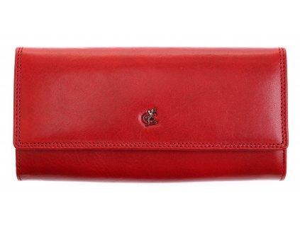 Dlouhá kožená peněženka Cosset 4493 Red Komodo červená