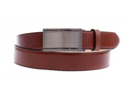 Pánský kožený opasek Penny Belts 3571 s plnou sponou AUTOMAT hnědý