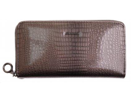 Velká dámská kožená peněženka Carmelo 2102 A šedá kroko