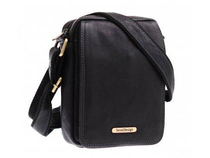 Pánská kožená crossbody taška Sendi Design CT52006 černá + logo mosaz