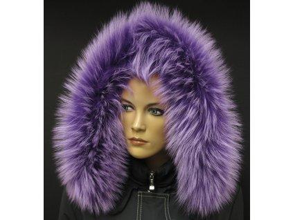 Kožešina na kapuci z finského mývalovce - 92 lila