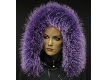 Kožešina na kapuci z finského mývalovce - 93 lila