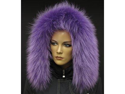 Kožešina na kapuci z finského mývalovce - 94 lila