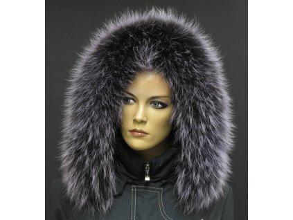 Kožešina na kapuci z finského mývalovce - 95 lila