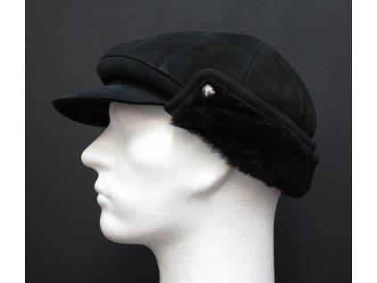 Pánská kožešinová kšiltovka z ovčiny  černá velur CEKO72