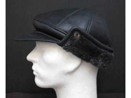 Pánská kožešinová kšiltovka z ovčiny  černá s melírovaným vlasem kožešiny - napalan CEKO73