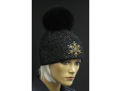 Dámská zimní pletená čepice s kožešinovou bambulí 652 černá se zlatým lurexem