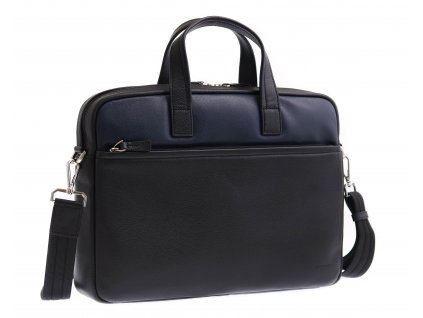 """Pánská kožená taška na notebook Hexagona 686291 černomodrá 13"""""""