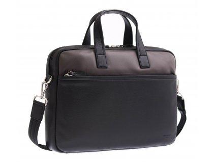 "Pánská kožená taška na notebook Hexagona 686291 černá + taupe 13"""