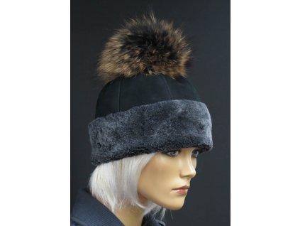 Dámská kožešinová čepice s bambulí z mývalovce - 4714 černá s šedým vlasem kožešiny