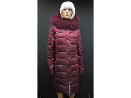 Zimní dlouhá péřová bunda s pravou kožešinou Leder Pellicce - Beatrice vínová