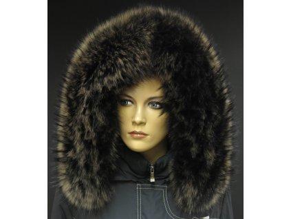 Kožešina lem / límec na kapuci z finského mývalovce MP16 Black Natur