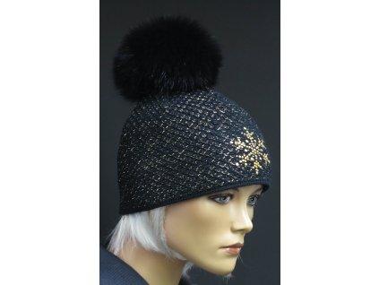 Dámská zimní pletená čepice s kožešinovou bambulí 317 černá se zlatým lurexem