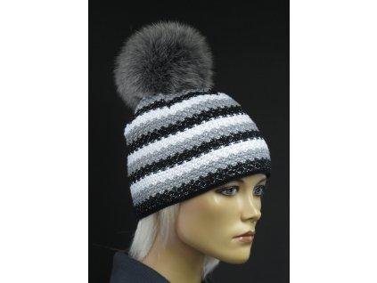 Luxusní pletená čepice s kožešinovou bambulí R Jet 318 šedá
