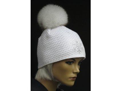 Luxusní pletená čepice s kožešinovou bambulí R Jet 319 bílá + stříbrný lurex