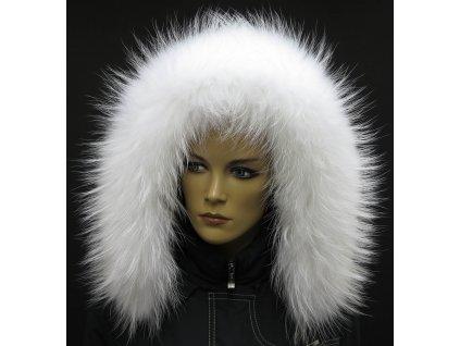 Kožešinový lem / límec na kapuci z finského mývalovce - 4013 White Excellence
