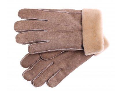 Kožešinové rukavice prstové PR90 hnědé vintage vel. L/XL